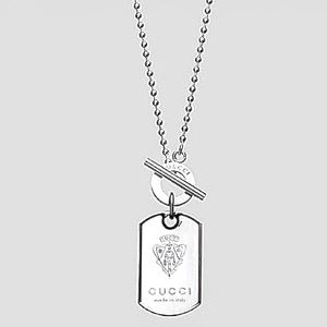 """New Gucci Dog Tag Crest Necklace Authentic 19"""""""
